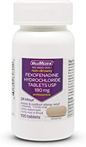 ValuMeds 24-Hour Allergy Medicine (100-Count) Fexofenadine HCl Tablets | Non-Drowsy Antihistamine | Pollen, Hay Fever, Dry, Itchy Eyes, Allergies | Kids, Adults (Compare to Allegra Tablets)