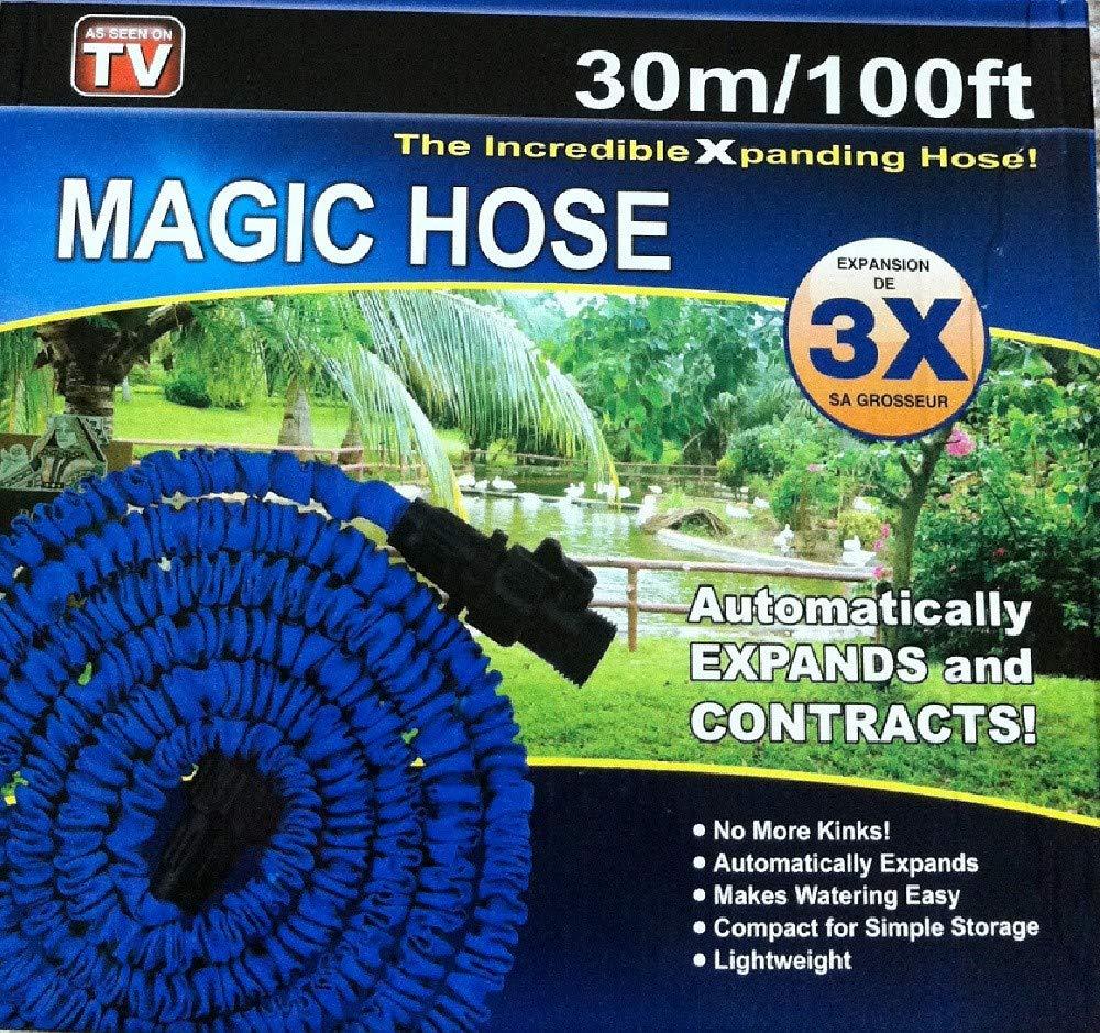 All Shop - Magic Hose Tubo Magico Elasticizzato per Giardino, Pompa estenisibile Fino a 3 Volte la Sua Lunghezza Iniziale 30m / 100ft