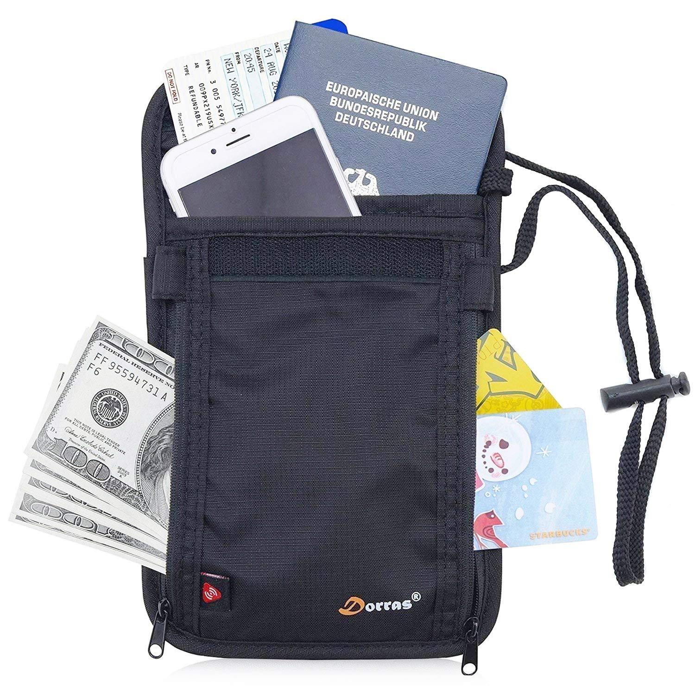 Dorras RFID Blocking Passport Holder - Neck Stash Pouch & Security Travel Wallet - Black 10475235