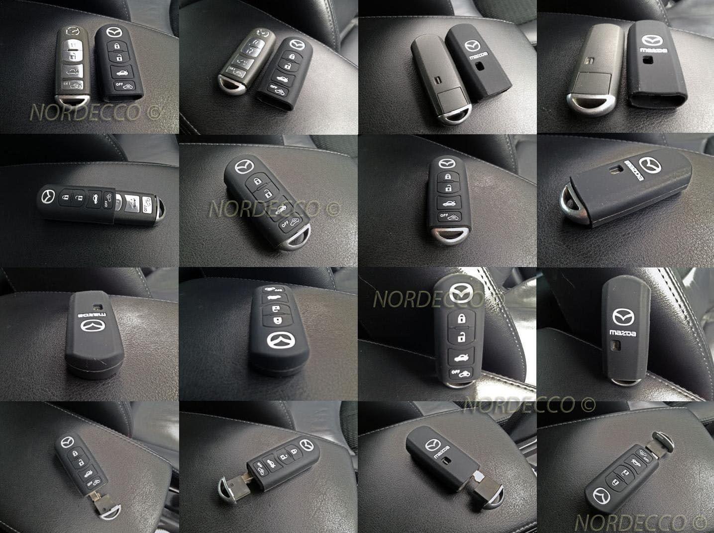 Silikonschutzhülle Mit 4 Tasten Für Autoschlüssel Von Mazda Mx 5 3 6 Cx 5 7 9 Schwarz Auto