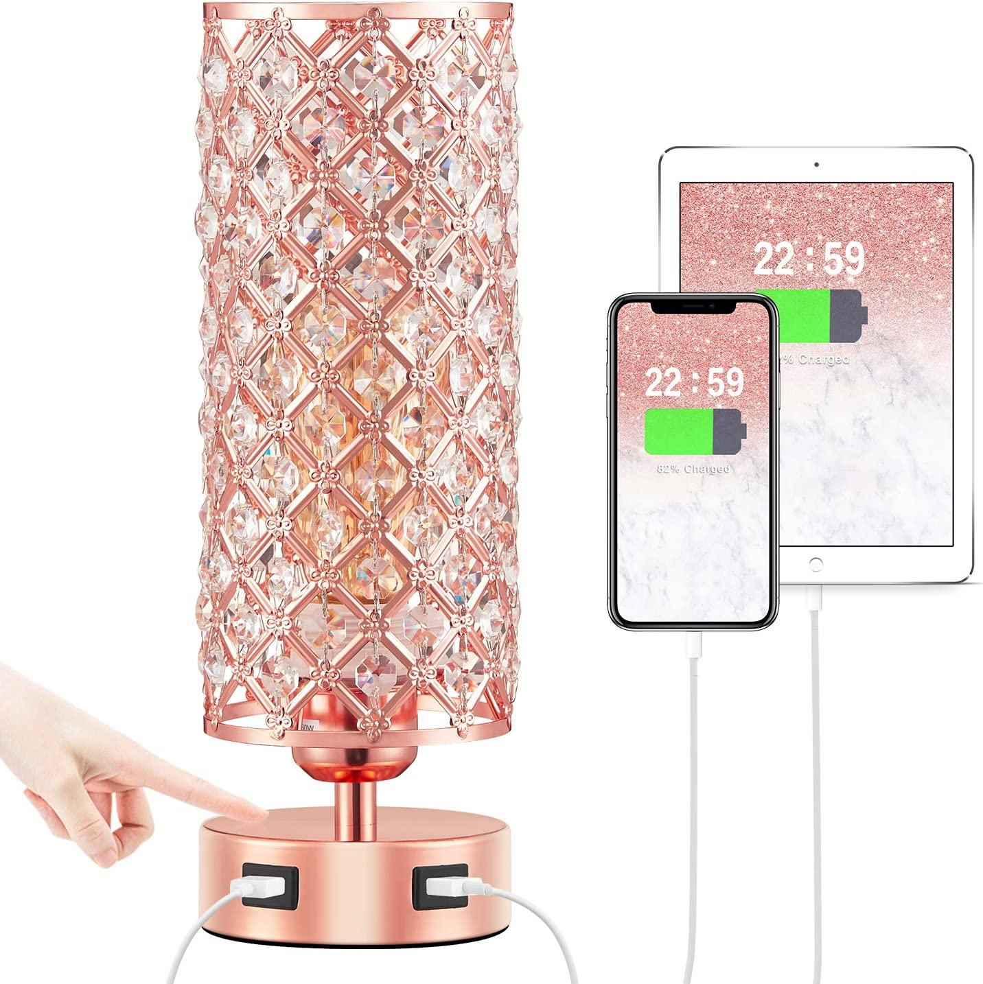 Touch USB Table Lamp, Rose Gold Lamp 3 Way Dimmable with Crystal Lampshade, Bedside Lamp with Dual USB Ports, Touch Light for Living Room Bedroom Home, Charge Phone Ipad Kiddle/etc. (Bulb Included)