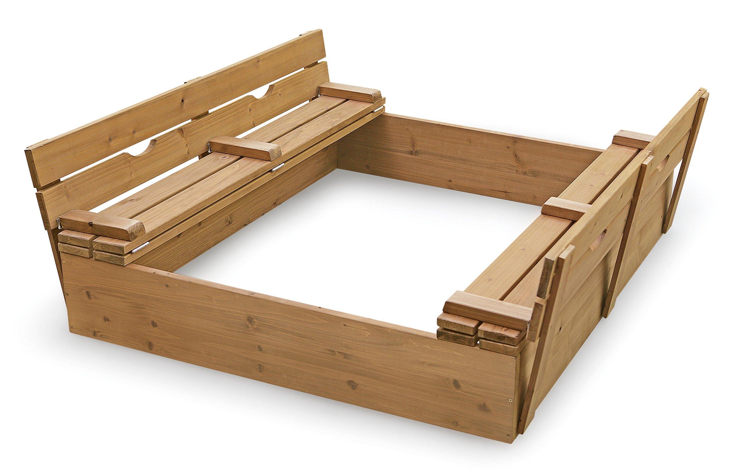 Badger Basket Covered Convertible Cedar Sandbox with Bench Seats, Natural by Badger Basket