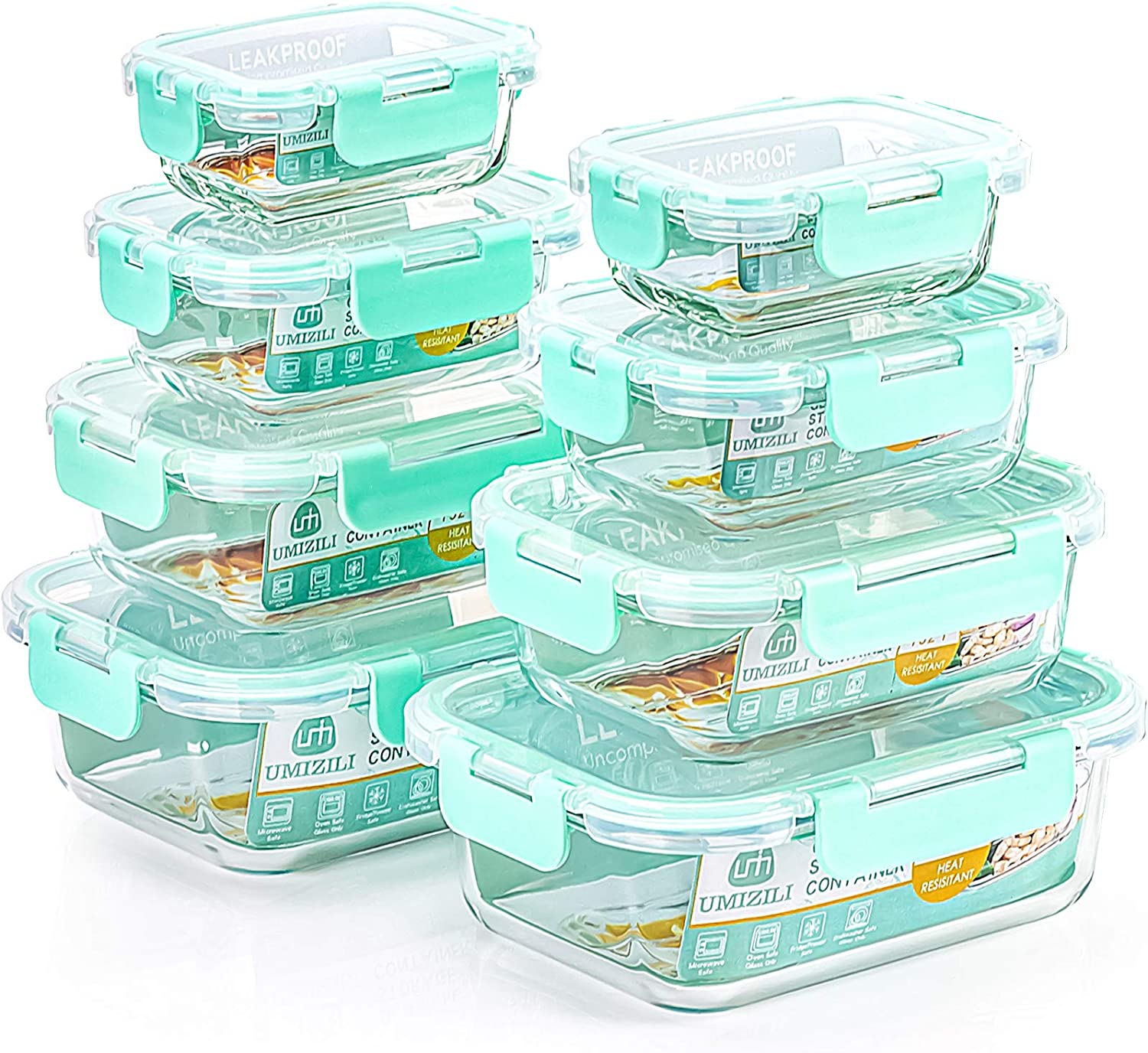 16 Piece Glass Storage Containers with Lids, Airtight Food Storage Containers with Lids for Meal Prep, Freezer to Microwave, Dishwasher Safe (8 Containers + 8 Lids)