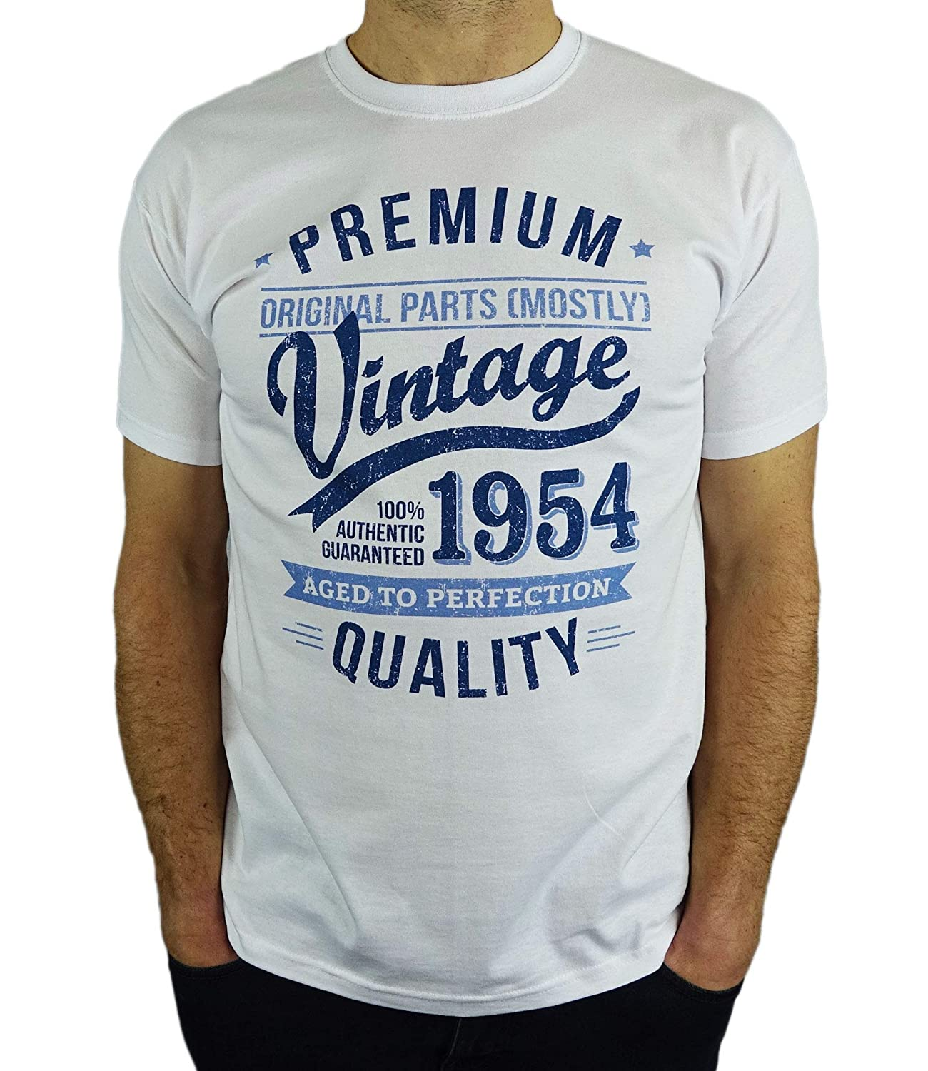 2cdaa4f6a 1954 Vintage Year - Aged to Perfection - 65th Birthday Gift / Present Mens  T-Shirt: Amazon.co.uk: Clothing