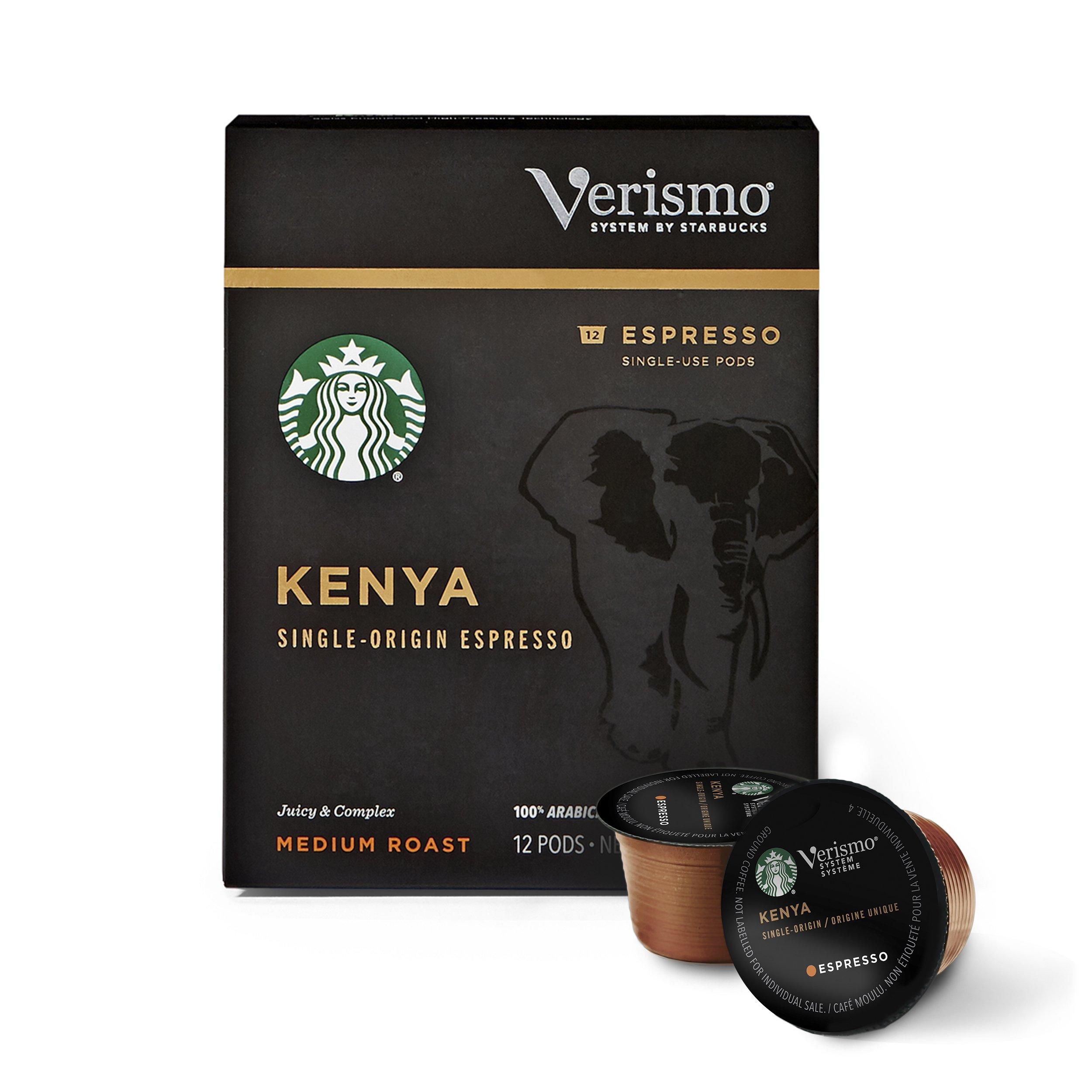 Starbucks Medium Roast Brewed Coffee Single-Serve Verismo Pods, Kenya Espresso, 72 Count
