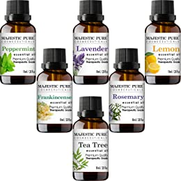 Majestic Pure Essential Oils Set, Therapeutic Grade Aromatherapy Oil Set, Includes Lavender, Frankincense, Peppermint, Lemon, Tea Tree & Rosemary Oils - 6 Count - 10 ml each
