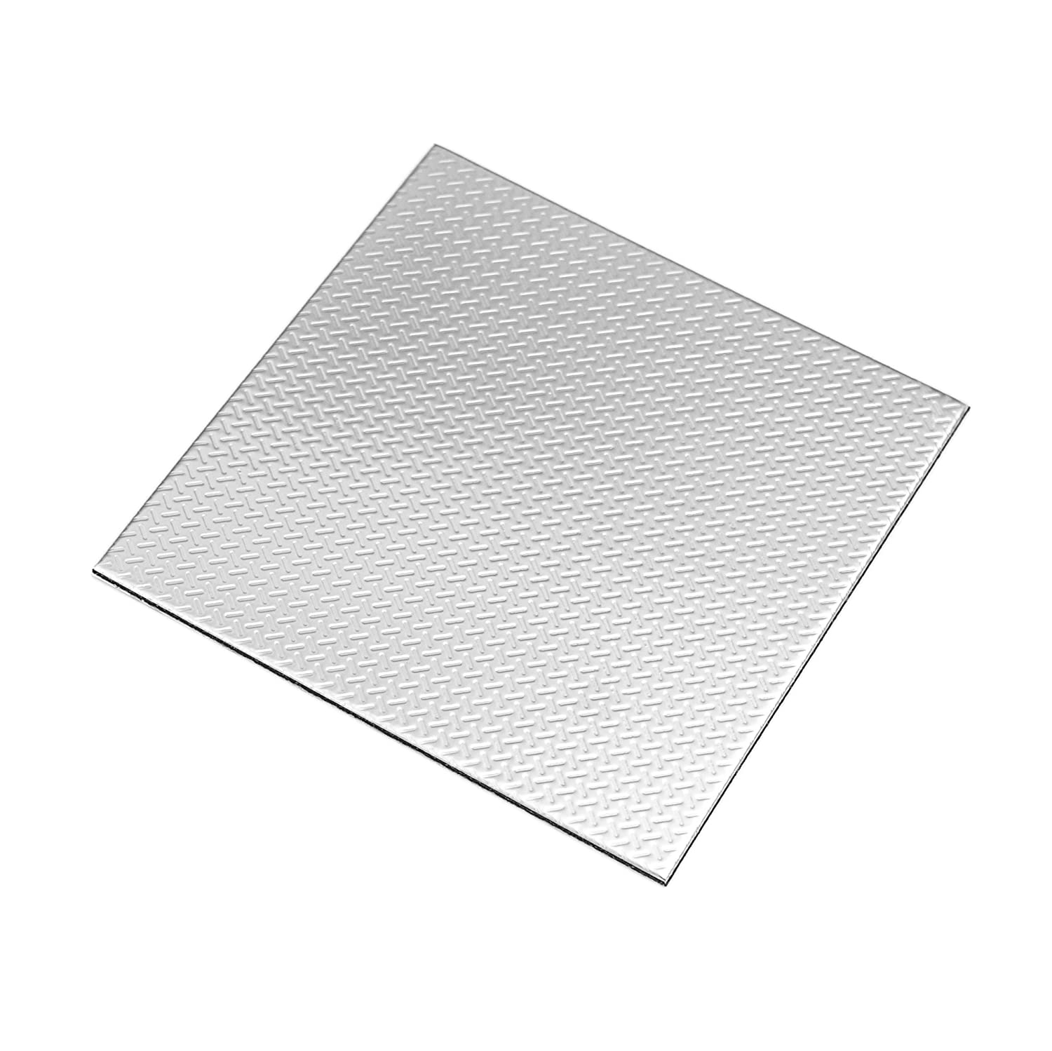 Ver Block Peel and Stick Design Stainless Steel DIY Interior Tile 5PCS (7.8 x 7.8 inch (5PCS), Check Silver) DSP