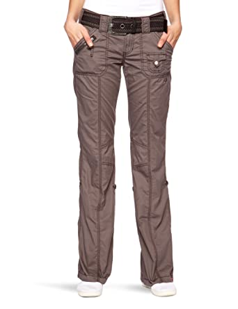 faead28718c118 edc by ESPRIT Damen Hose Normaler Bund 993CC1B902 Play-Turn-Up mit Gürtel ,