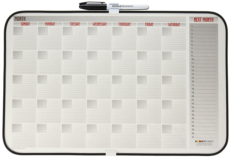 Dooley Vinyl Framed Calendar Board, 11 x 17 Inches, 1 Board (1117CALV) Dooley Boards