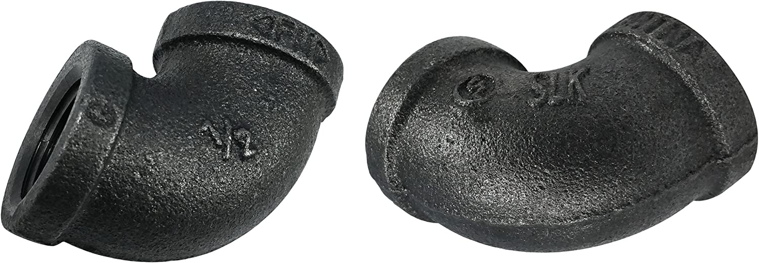 LDR Pipe Décor Industrial Steel Grey 1/2-Inch 90° Elbow Fitting (2-Pack)