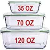 LARGE Glass Containers for Food Storage with Lids Container Baking Dish Set Glass Storage Containers with Locking Lid Set 3 1