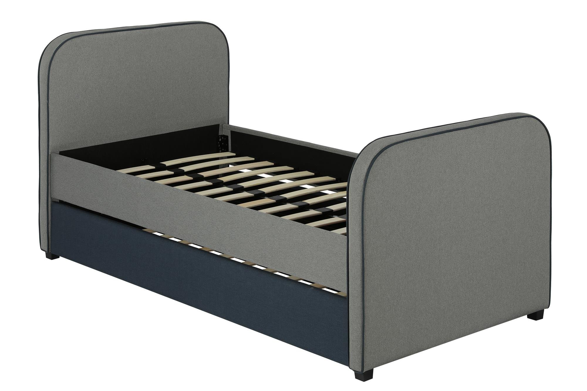 DHP Jesse Twin Kids Bed with Trundle in Gray Linen by DHP (Image #1)