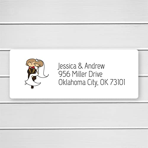 amazon com 60ct return address labels with bride and groom for