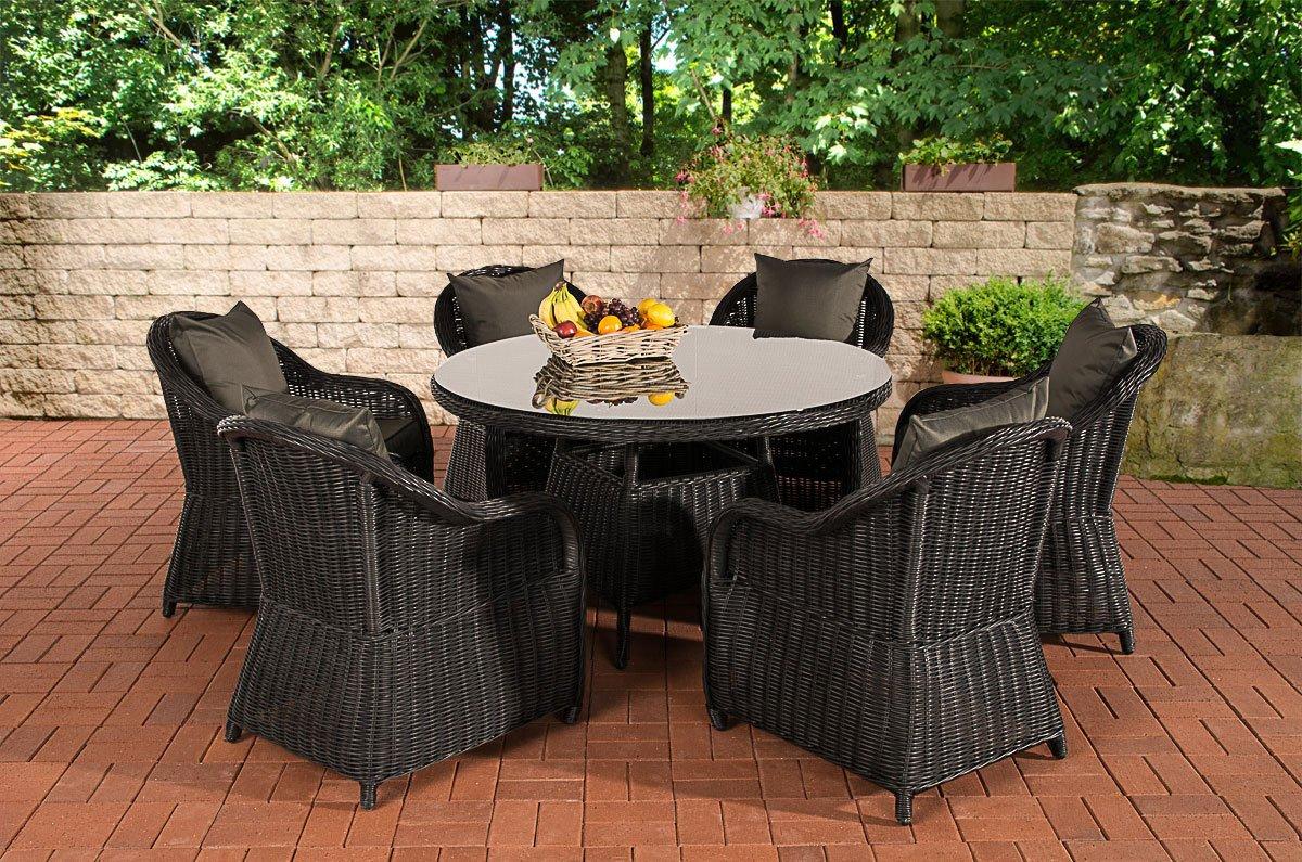 CLP Poly-Rattan Sitzgruppe STAVANGER, Esstisch rund Ø 130 cm, 6 Gartensessel Bezugfarbe anthrazit, Rattan Farbe schwarz