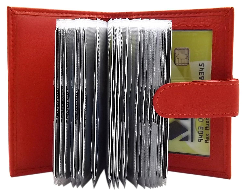 MJ-Design-Germany XXL Kreditkartenetui Kalbsleder für 22 Scheckkarten in 3 Farben