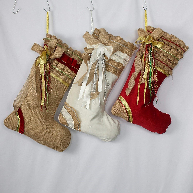 Red Christmas Stocking Shabby Chic Christmas Decor Ruffle Xmas Stockings Christmas Stocking Set