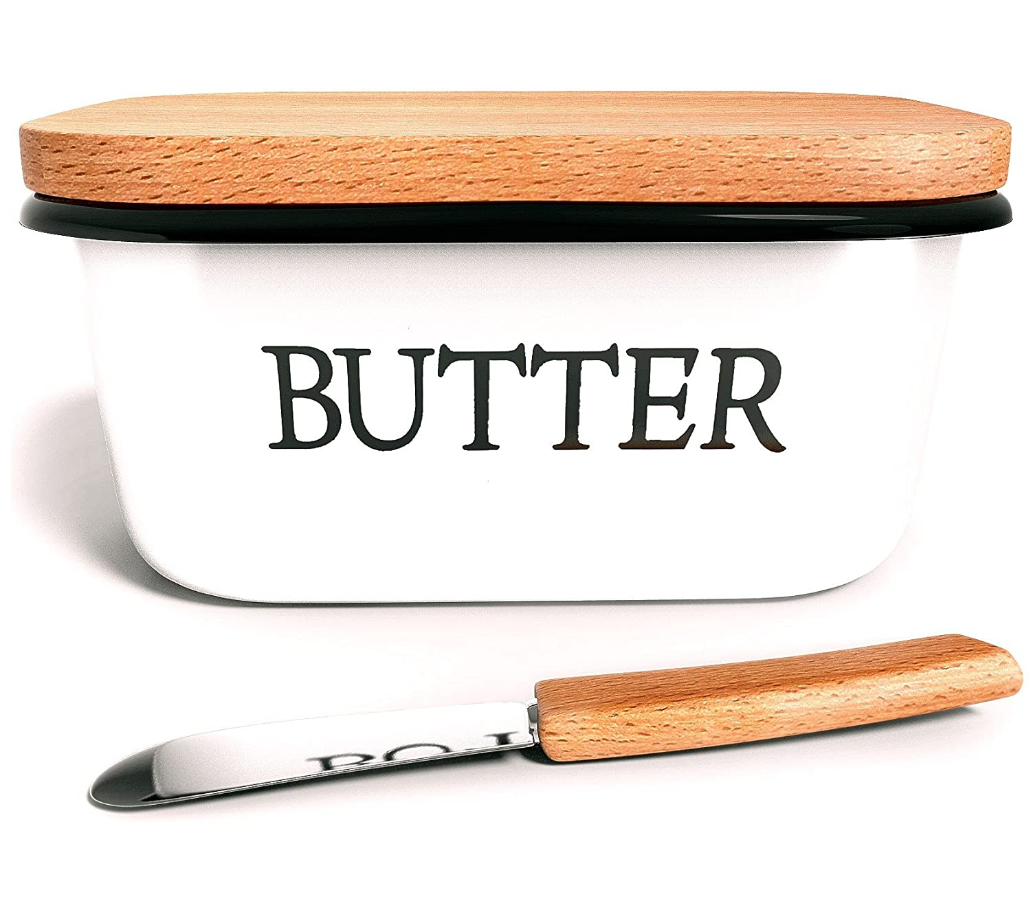 Amazon.com | Country Style Butter Dish with Beechwood Lid + Butter ...