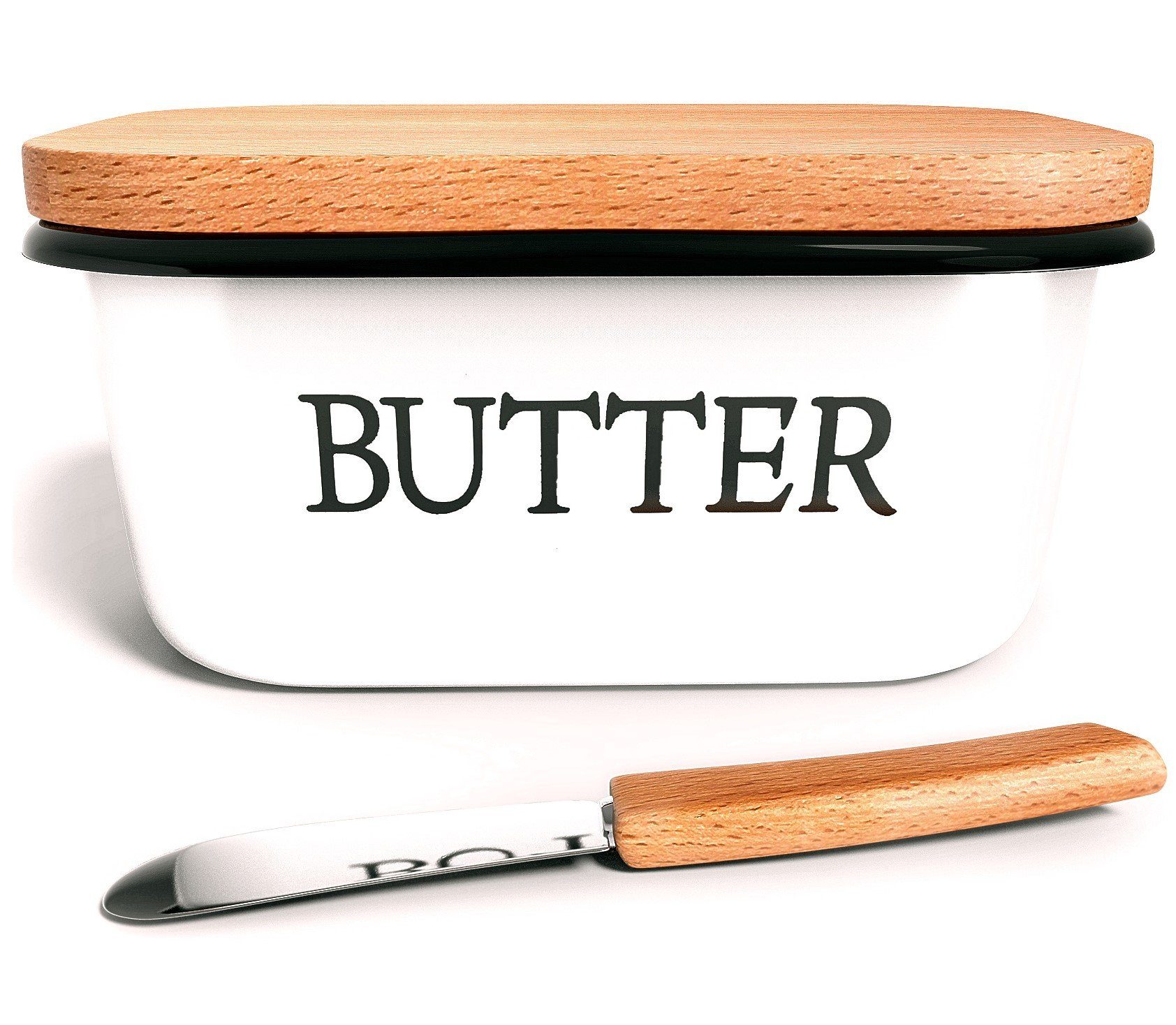 Country Style Butter Dish with Beechwood Lid + Butter Knife - Unbreakable - Holds up to 1 Pound of Butter