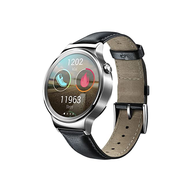 df8d9e658b42f0 Huawei 115016.0 Stainless Steel Classic Smartwatch with Leather Strap:  Amazon.co.uk: Electronics