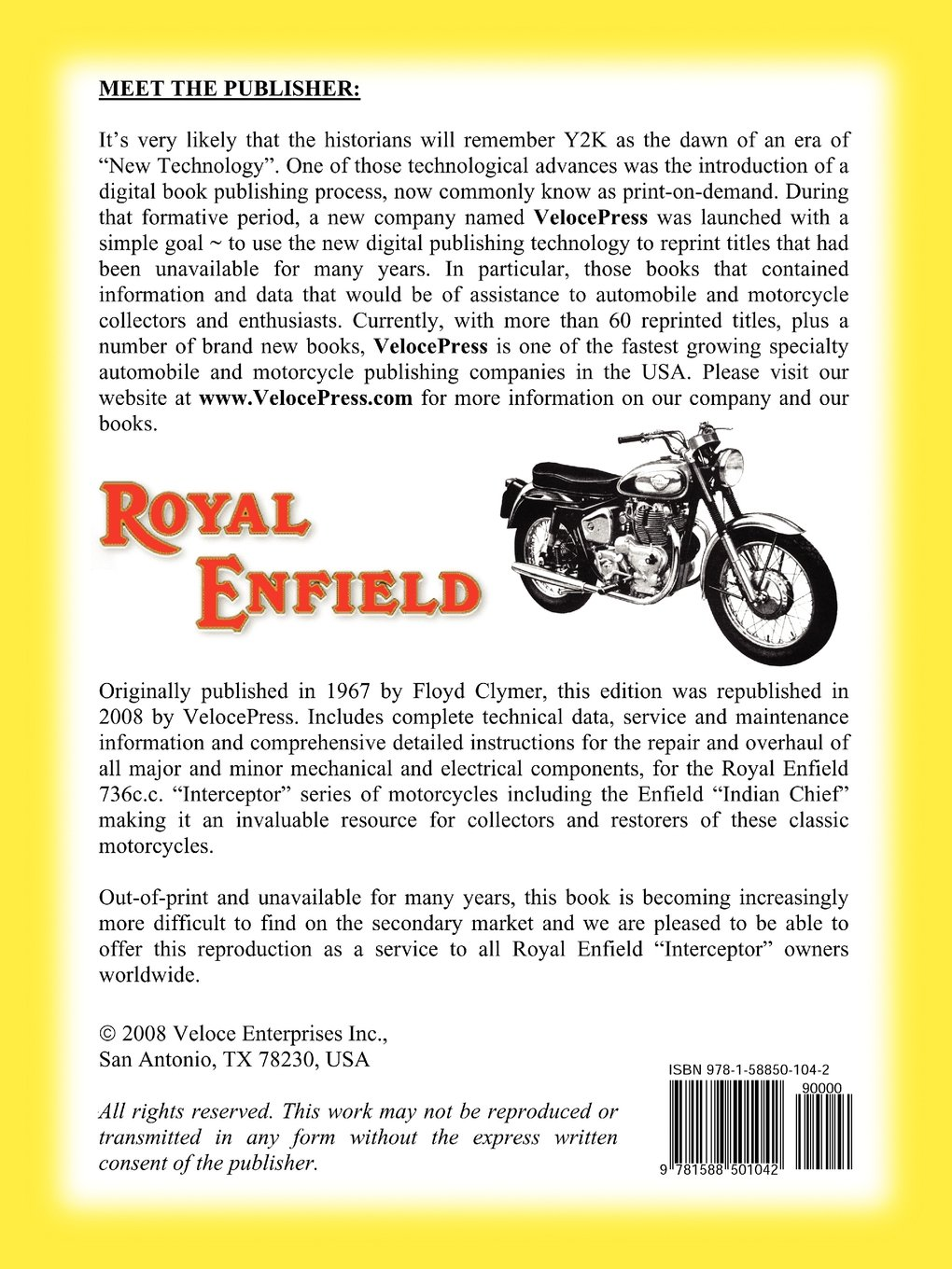 ROYAL ENFIELD FACTORY WORKSHOP MANUAL: 736cc INTERCEPTOR AND ENFIELD INDIAN  CHIEF: Royal Enfield UK Ltd.: 9781588501042: Amazon.com: Books