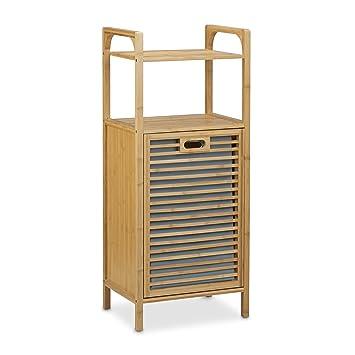 relaxdays badregal mit w schekorb aus bambus aufbewahren un ordnen. Black Bedroom Furniture Sets. Home Design Ideas