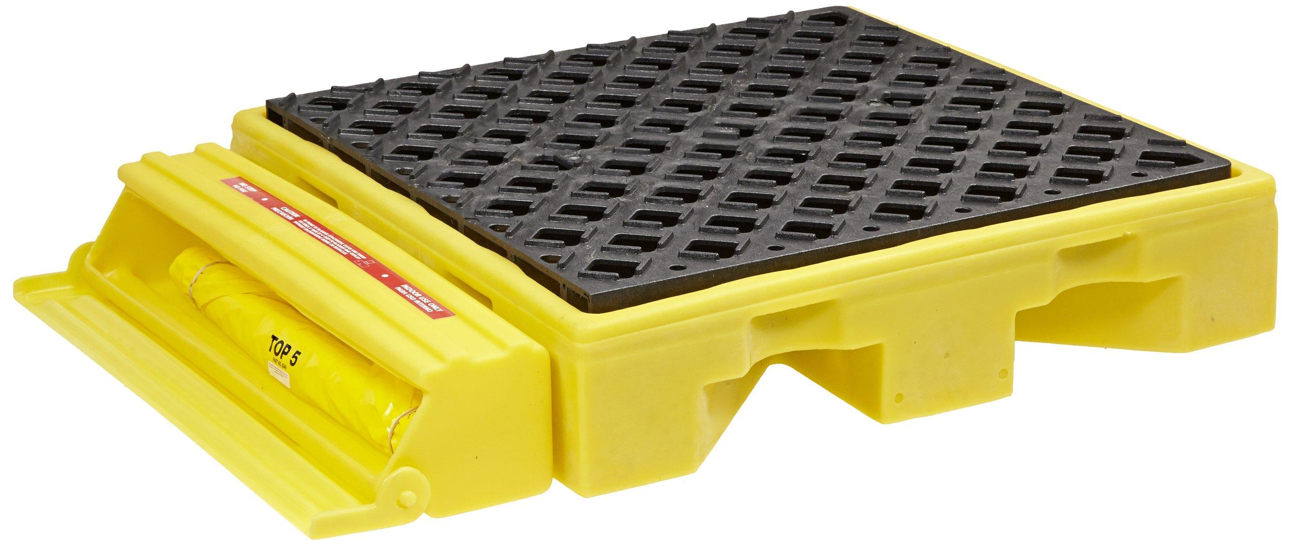 UltraTech 1320 Polyethylene Ultra-Spill Deck P1 Module Bladder System, 1 Drum 1500 lbs Capacity, 5 Year Warranty, Yellow