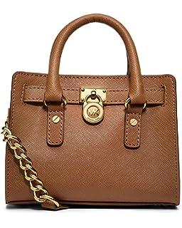 f067e01c0625 Michael Kors Saffiano Leather Mini Hamilton Messenger Bag Crossbody Luggage  Brown