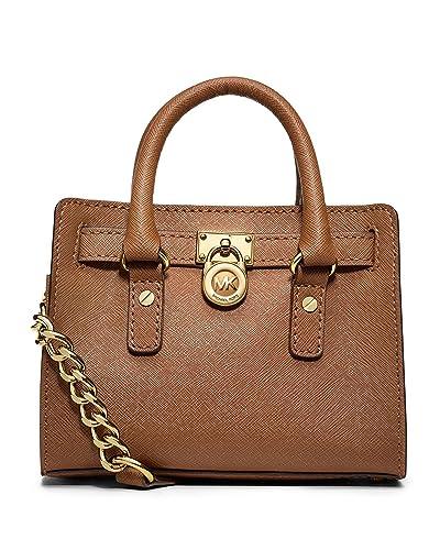 be1118f0f243 Amazon.com: Michael Kors Saffiano Leather Mini Hamilton Messenger Bag  Crossbody Luggage Brown: Shoes