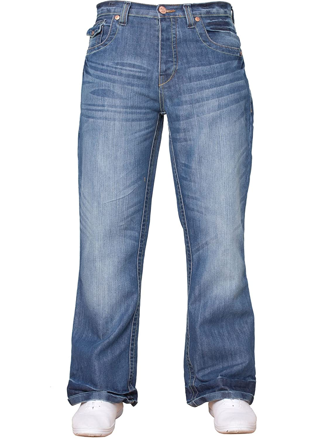 APT Mens Basic Bootcut Wide Leg Flared Denim Jeans - Range of Waist Sizes & Colours Available