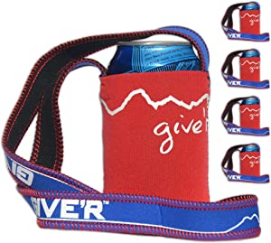 Give'r Hands Free Neck Beverage Insulator - 4 Pack (Red, White, Blue) Perfect for 4th of July and Summer BBQ's