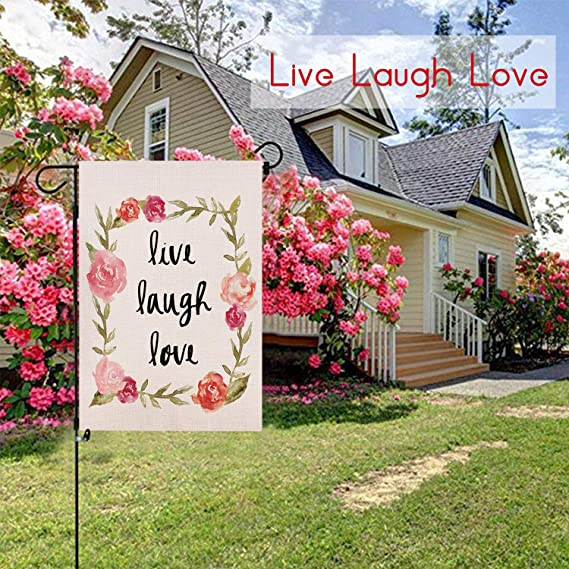 """LIVE LOVE LAUGH WITH FLOWERS SUMMER SPRING GARDEN FLAG 12/"""" X 18/"""" NEW"""