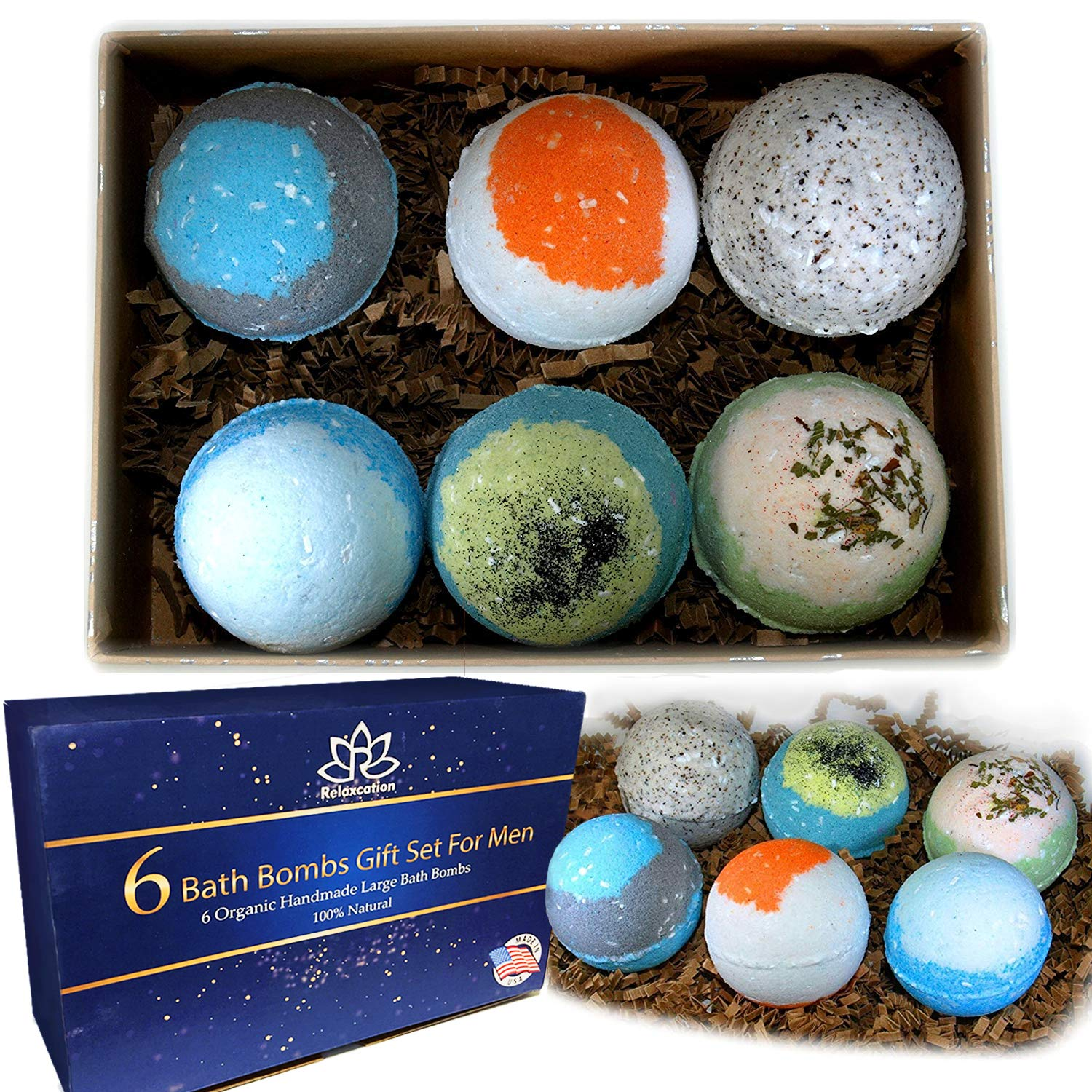 Organic Bath Bombs Gift Set For Men - Vegan Natural Ingredients - Made in the USA - Absolutely Safe for Men - Relaxing Epsom, Himalayan, Dead Sea Salts & Essential Oils Relaxcation Inc