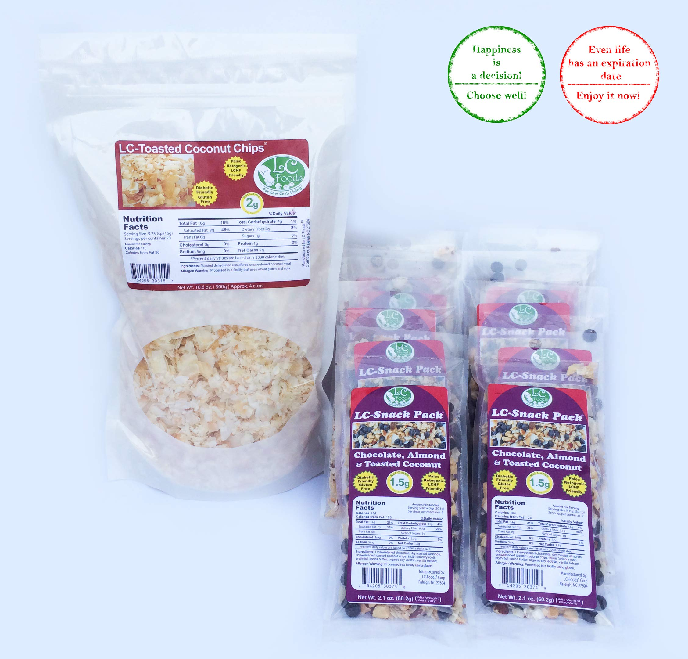 Keto Foods And Snacks, Unsweetened Toasted Coconut Chips + Chocolate Almond & Toasted Coconut Snack Packs by LC Foods, Atkins Diet, Gluten Free Treats For Kids & Adults by LC-Foods (Image #1)