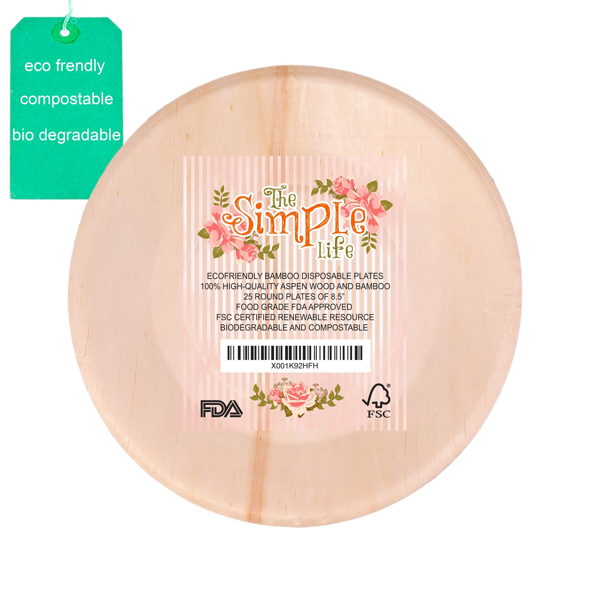 "Disposable Bamboo Wood Plates, Eco-Friendly Sturdy Elegant Party Dinner Plates 8.5"" Pack of 25, Strong Perfect for Dinner, Wedding, Camping or Barbecue Easy Clean-up!"