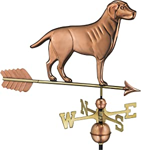 Good Directions Labrador Retriever / Dog Weathervane with Arrow, Pure Copper