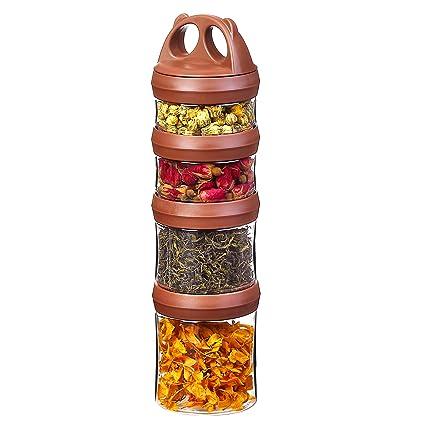 Tritan Recipientes Comida, Hermeticos contenedor alimentos, Cerradura de la torcedura 4 piezas Apilable,
