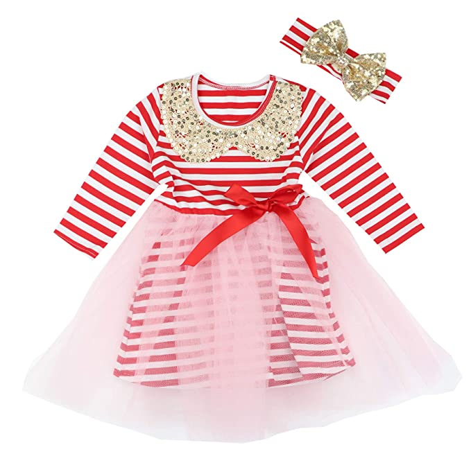 096c0332ebb Toddler Baby Girls Valentine s Day Outfit Dress Cotton Stripe Long Sleeve  Red Bow Tutu Dresses for