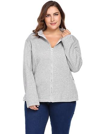 251f067337b IN VOLAND Womens Plus Size Casual Zip up Tunic Sweatshirt Long Sleeve  Sports Jacket Coat