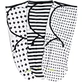 Swaddle Wrap Blanket for Babies - 3 Pack, Unisex, Universal Fit - Ziggy Baby Adjustable Infant Baby Newborn Wrap Set for Boys, Girls Soft 100% Cotton in Black + White