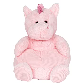 Soft Plush Pink Unicorn Childrens Chair With Corduroy Trim 18in .