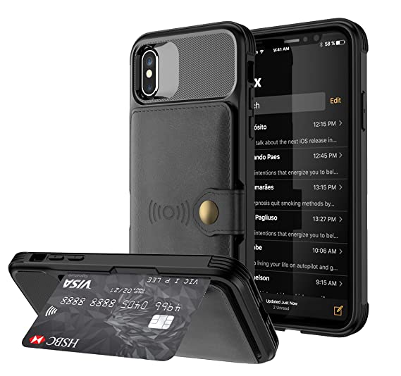 new product b5845 90629 iPhone Xs Wallet Case,iPhone X Wallet Case,iPhone Xs/X Case with Card  Holder,Premium Leather Back Folio Flip Shock Absorption Protective Case  with ...