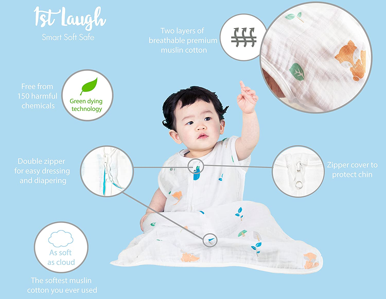 for Boy and Girl 1st Laugh 100/% Organic Cotton Muslin Baby Sleeping Sack Bag Deer, Large
