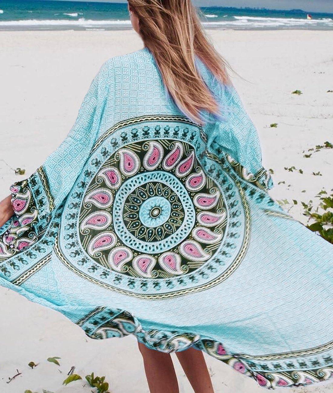 224d3fbc19d Sanifer Women s Boho Floral Printed Open Front Swimsuit Cover Up Plus Size  Long Beach Cover Up Kimono (Blue