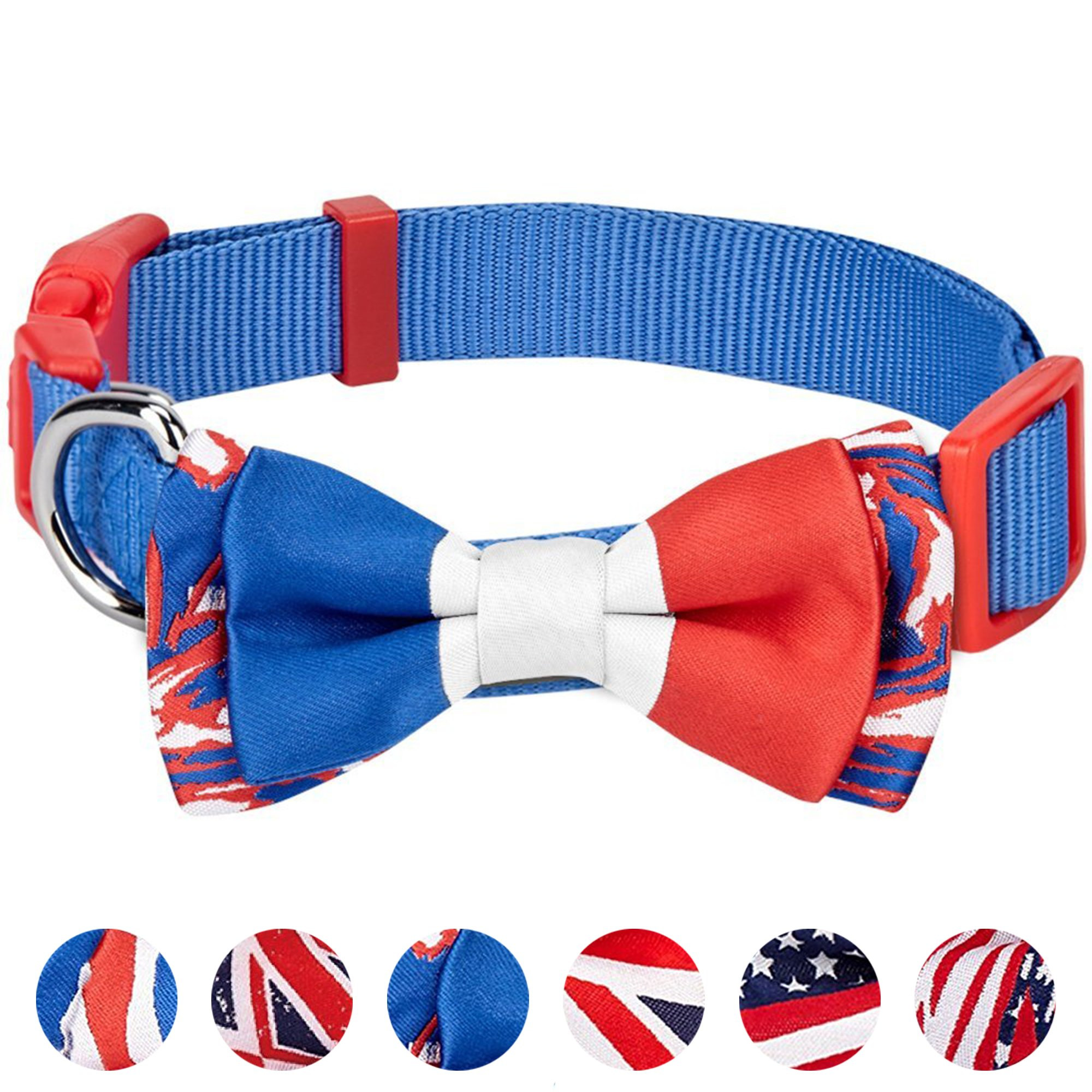 Blueberry Pet 6 Designs Pack of 1 National Pride Handmade France Flag w/Jacquard Weave Fabric Detachable Bow Tie Dog Collar in Blue, Medium, Neck 14.5''-20'', Adjustable Collars for Dogs