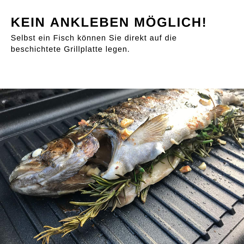 Eurolux Grill Platte Guss Aluguss 43 x 28 cm für Elektro Gas Induktion gerillt