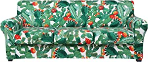 hyha Printed Couch Cover for 3 Cushion Couch - Floral Pattern Sofa Cover with Separate Cushion Cover, 4 Pieces Stretch Sofa Slipcover Washable Furniture Protector (Sofa, Cactus)