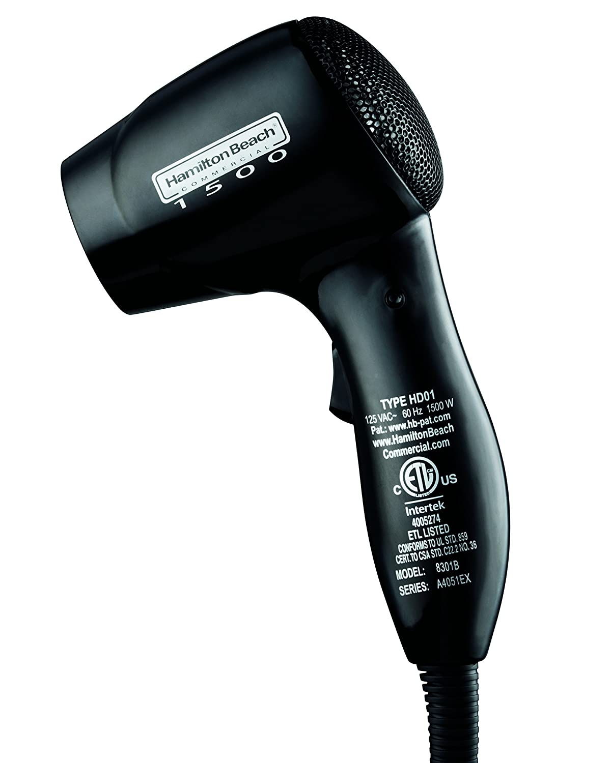 Hamilton Beach Commercial Hospitality Wall-Mounted Hair Dryer 1500 Watts Nightlight, Black 8301B