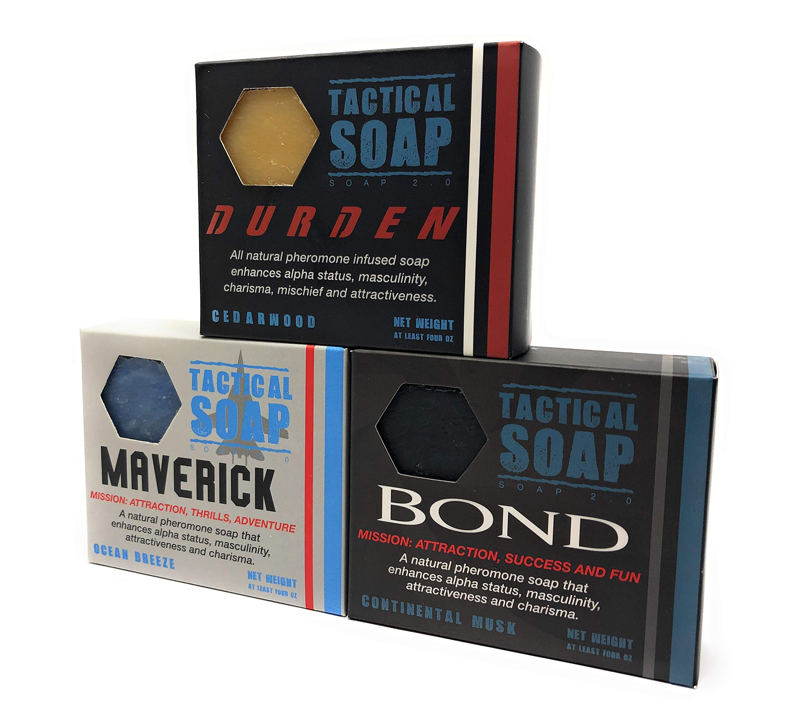 Tactical Soap - The Trifecta (1 of Durden, Bond, and Maverick) - Mens Vegan All Natural Soap Bars Infused with Powerful Pheromone Formula for Attraction