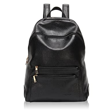 114174a450 Hynes Victory Faux Leather Backpack for Women Dressy Campus Backpack Purse  Black
