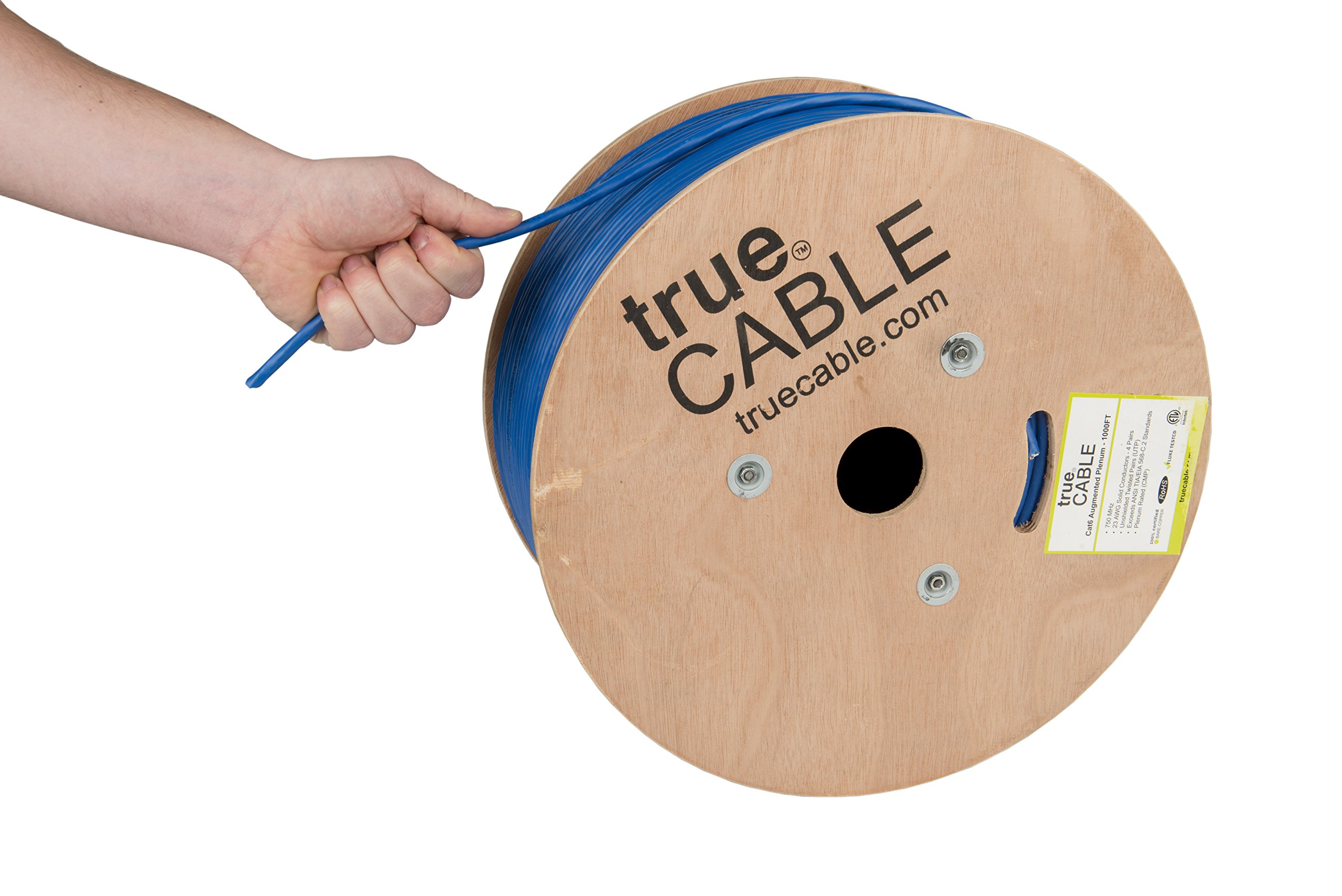 Cat6A Plenum (CMP), 1000ft, Blue, Solid Bare Copper Bulk Ethernet Cable, 750MHz, ETL Listed, 23AWG 4 Pair, Unshielded Twisted Pair (UTP), trueCABLE